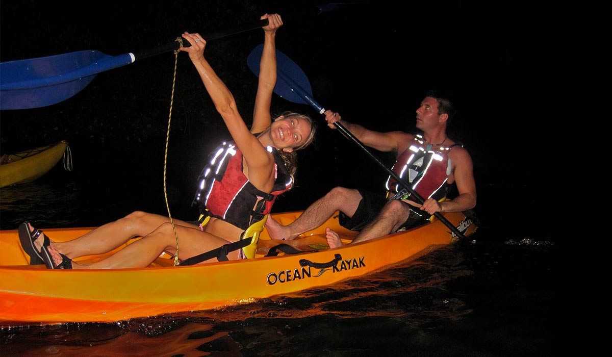 Happy couple enjoying their Fajardo Bio Bay Kayak Tour at the Bioluminescent Bay Puerto Rico