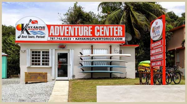 Front side of Kayaking Puerto Rico Adventures Center in Culebra Island, snorkeling in culebra and culebra day trip services