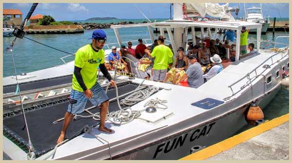 Catamaran ready for departure at the marina