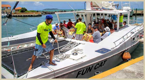 The Fun Cat Catamaran Puerto Rico at the marina, ready for departure to Icacos Puerto rico