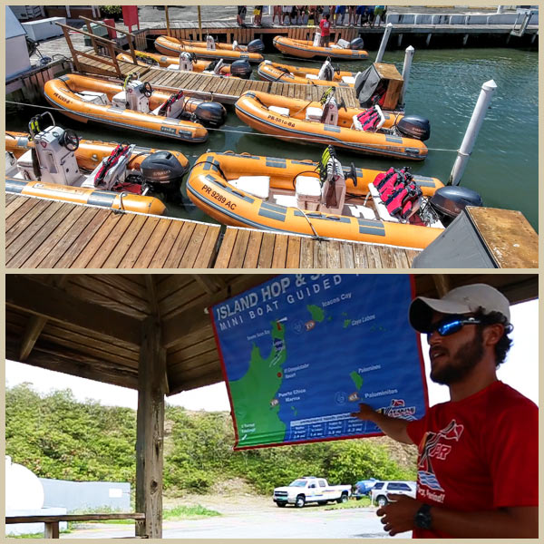 Photo collage of Mini Boats at the dock (top) and Kayaking Puerto Rico guide explaining tour route (bottom)