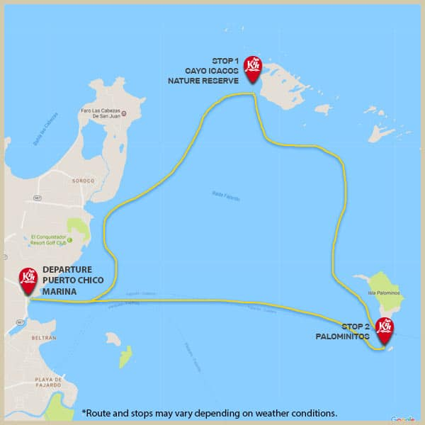 Map of departure point and stops for mini boat tour