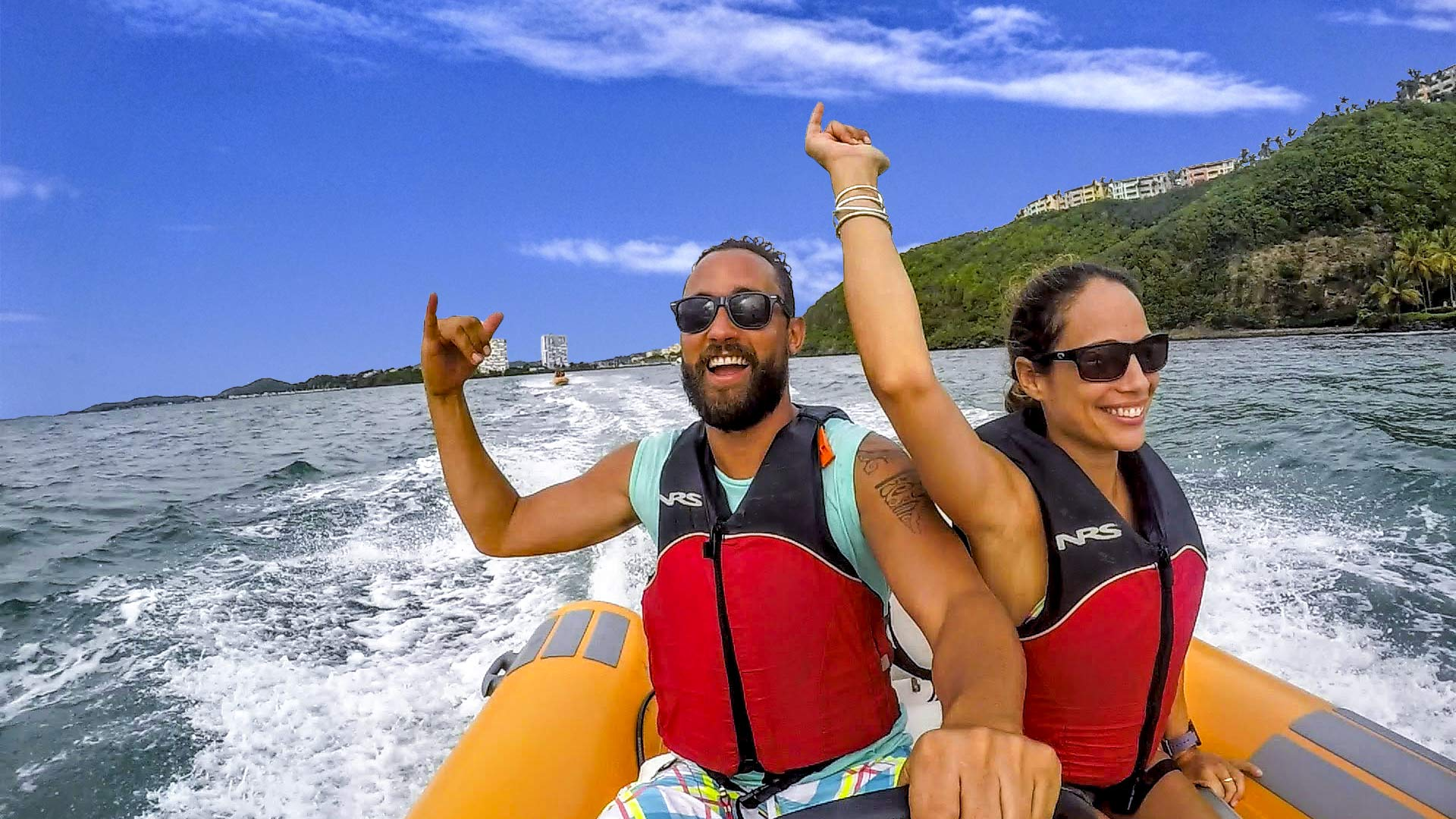 Man and woman enjoying the Snorkeling in Puerto Rico Mini Boat Tour of Kayaking Puerto Rico